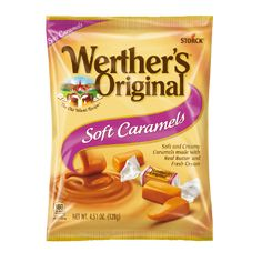 Mr Case Supplier of Werthers Caramel Soft Creme delivery to your home or office in Toronto, Ontario, Canada. comes in a case of Werthers Caramel Soft Creme Werther's Caramel, Filled Candy, Online Candy Store, Candy Packaging, Bulk Candy, Snack Recipes, Snacks, Food Packaging Design, Treats