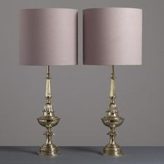 Talisman A Pair of Polished Brass Stiffel designed Table Lamps USA 1950s -