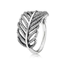 Statement ring: #PANDORAring in sterling silver with micro pave set cubic zirconia #feather