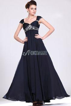 Elastischer Satin bodenlanges luxus Brautmutterkleid/ Abendkleid mit gekappten Ärmeln
