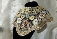 Statement Beaded Antique Lace Bib Embroidered by RoniStatement, $390.00