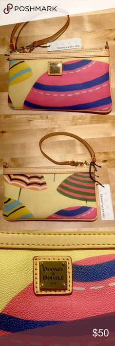 NWT Dooney & Burke Beach Umbrellas Zipper Wristlet 🏖☀️🏖☀️🏖☀️🏖☀️🏖☀️🏖☀️🏖☀️🏖☀️🏖☀️🏖☀️ 💛💛💛💛💛💛💛💛💛💛💛💛💛💛💛💛💛💛💛💛 New With Tags Dooney & Burke Summer Beach Umbrellas theme zipper wristlet. So cute!! Two way strap handle option. Small, but oh so cute😍! Rare find.  Smoke free, pet free. Quick shipping. Thank you for looking ☀️💛 Dooney & Bourke Bags Clutches & Wristlets