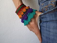 Lagerstroemia Speciosa : beaded crochet cuff with orange, red, purple, turquoise blue and emerald green beaded flowers and crocheted lace by irregular expressions | Flickr - Photo Sharing!