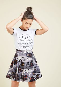 What Do You Haunt From Me? Skirt. The day you decide to cast your charm upon the scene using this cotton skater skirt, any pals who catch wind will kindly request your presence! #grey #modcloth
