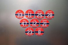 A set of 9 magnets that feature players on the Montreal Canadiens Cup Winning Team. The magnets are for indoor use. Patrick Roy, Montreal Canadiens, Magnets, Hockey, Fan, Gifts, Favors, Hand Fan, Presents