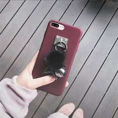 Metal Star Ring Decoration Fur Hair Hard PC Case for iPhone 7 7plus 6 6s plus