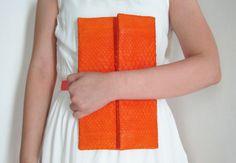 Orange Fold Over Python Snakeskin Leather Clutch, $118.00 by L I N