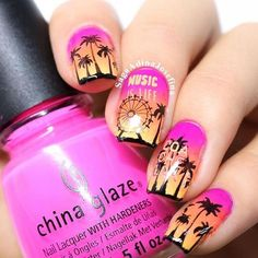 Pretty California sunset manicure using plate BM-S303 from the festival series created by @saagaadinajosefina!