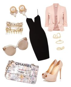 """Baby me PINK #BABYPINK #LITTLEBLACKDRESS #CHANEL"" by stephenierae on Polyvore featuring Chanel, Linda Farrow, Carolee, River Island and Topshop"
