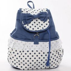 Fresh Sweet Dot Lace Bow Backpack for only $24.90 ,cheap Fashion Backpacks - Fashion Bags online shopping,college style and fresh backpack for big sale