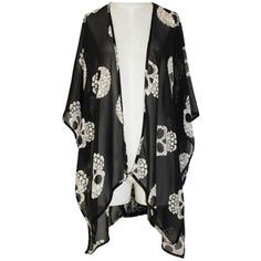 Candy Skull Kimono ($32) ❤ liked on Polyvore featuring jackets, cardigans, tops, outerwear and kimono