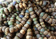"""African Safari picasso mix--Matte striped Picasso beads that have been """"aged"""" with with coat of silver oxide."""