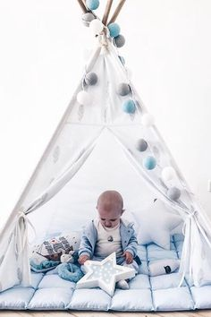 kids tepee with feathers to buy on Etsy - HappySpacesWorkshop - boys teepee, light blue kids room decor, kids room inspiration