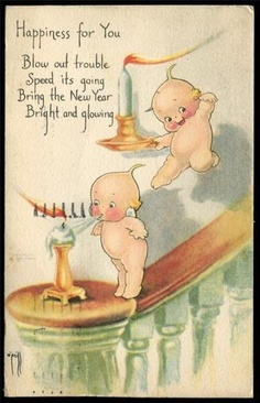 Rose O'Neill  New Year's Kewpies Blowing Out Candles