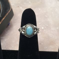 Sterling Silver Blue Larimar Ring Sz 7 As pictured Larimar Jewelry Rings