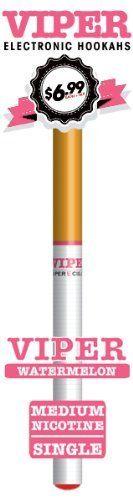 Viper Disposable E-hookah with Soft-tip. Longest Lasting Electronic Hookah Pen / Stick Available. (Watermelon Hookah) by Viper E-Hookah, http://www.viperecig.com/disposable-electronic-hookah-flavors/soft-tip-disposable-800-puff-electronic-hookah-singles/watermelon-medium-nicotine-electronic-cigarette.html