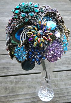 Peacock Wedding Brooch Bouquet with real Peacock Feathers - Blue, Green & Purple - Made to Order. $450.00, via Etsy.