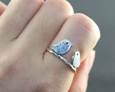 Antiuqed silver Love two bird Adjustable Ring by hgforeverstar, $3.99
