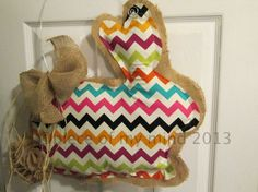 READY TO SHIP Burlap Door Hanger Bunny with Tail by nursejeanneg