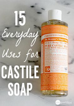 15 Everyday Uses for Castile Soap. Made from plant oils, completely biodegradable, and very gentle on humans and pets - this amazingly versatile product can be used in a vast array of products in your home! Check out some of our favorites! Homemade Cleaning Products, Natural Cleaning Products, Natural Cleaning Recipes, Natural Products, Green Cleaning Recipes, Natural Cleaning Solutions, Eco Friendly Cleaning Products, Green Products, Natural Soaps