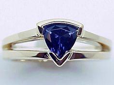 14 Karat Yellow Gold Trillion-Cut Iolite Ring. A Ben Salomonsky Design (BSJ-138/I). Order YOURS, Today! www.BenSalJeweler.com and www.Bonanza.com/BenSal