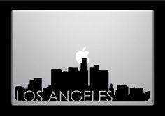 Los Angeles Skyline Macbook Decal With Writing Macbook Sticker Laptop Sticker 3 9 99 Via Etsy Macbook Stickers Macbook Decal Laptop Decal