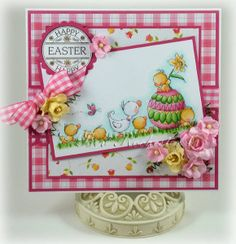 Cute Easter duck card with pink homespun papers. Papers from FQB - One Birdie Lane from Nitwit Collections