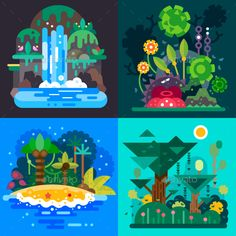 Four Fantastic jungle landscapes with a tropical bushes, paradise island, mystic. - environment aesthetic - Four Fantastic jungle landscapes with a tropical bushes, paradise island, mystical waterfall and ra - Illustration Design Plat, Plant Illustration, Landscape Illustration, Graphic Illustration, Vector Illustrations, Forrest Illustration, Jungle Landscape, Whatsapp Wallpapers Hd, Vector Design