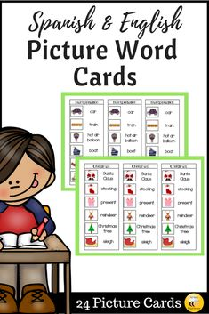 These picture cards are a great addition to your writing center, homework folders, student table supply baskets, etc. This packet includes 24 Spanish/English cards with 11 different topics. Homework Folders, Writing Folders, Vocabulary Flash Cards, Bilingual Classroom, Spanish English, Primary Education, Learn A New Language, Picture Cards, Reading Comprehension