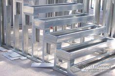 Steel Frame House, Steel House, Steel Building Homes, Building A House, Metal Stud Framing, Steel Stairs, Steel Frame Construction, Prefabricated Houses, Steel Buildings