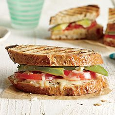 Avocado and Tomato Grilled Cheese Sandwiches | CookingLight.com #myplate #vegetables #wholegrain #dairy