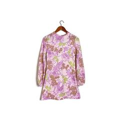 60s patterned dress // pink long  sleeve mini by superqueenieretro