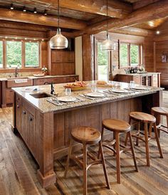 Rustic Fencing Pendants over the bar in a log cabin open floor pla. Rustic Fencing Pendants over the bar in a log cabin open floor pla. Rustic Cabin Kitchens, Log Home Kitchens, Rustic Kitchen, Kitchen Sink, Log Cabin Living, Log Cabin Homes, Log Cabins, Rustic Cabins, Cabin Lighting