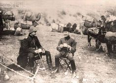 Coffee Break  Officers of the Turkish camel cavalry during a coffee break on their march through Syria in 1915. Place unknown. The Sinai and Palestine Campaign was a secondary theatre of war between the Ottoman Empire and Great Britain during World War I (1915-1918). The Ottoman Empire, as a an ally of the Central Powers, was supported by German (Asia Corps) and Austro-Hungarian troops in Palestine.  Source: Photo: Berliner Verlag/Archiv © Berliner Verlag/Archiv/dpa/Corbis