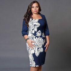 6a08fd6d118eb Barato 2015 outono inverno mulheres trabalho de escritório vestido Sexy  moda Casual elegante Bodycon azul impressão