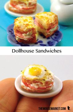 Dollhouse miniature croque monsieur and madame sandwiches sculpted from polymer clay by The Mouse Market