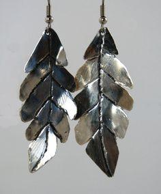 Large Leaf Earrings by Bybella on Etsy, $42.00