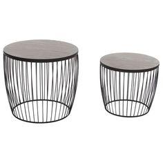 Table basse ronde Wire noir 2 set Kare Design Table
