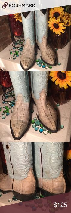 Los Altos Western Boots Western Alligator Boots- Sz 8 men- 10 women- Good condition- Genuine leather- Blue/Gray- Heels/Soles in great condition- Very nice boots. Los Altos Shoes Cowboy & Western Boots
