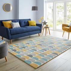 Blue And Mustard Living Room, Blue Couch Living Room, Teal Living Rooms, Living Room Color Schemes, Rugs In Living Room, Living Room Designs, Living Room Decor, Dining Room, Living Spaces