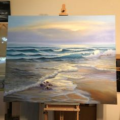 "Original Beach Paintings, Coastal Ocean Art, Seascapes by EvaVolfSeascapes Yay! Commission finished and approved by the customer: ""Awakening"", oil on canvas inch. I've made a time-lapse v Seascape Paintings, Landscape Paintings, Beach Paintings, Oil Paintings, Original Paintings, Indian Paintings, Painting Art, Ocean Art, Beach Art"