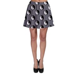 Grey Shade Love Chinese Character Yin Yang Heart Skater Skirt 5 Colors