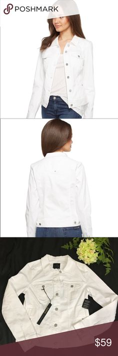 """Liverpool Jeans Powerflex White Denim Jacket New From Liverpool Jeans Company Los Angeles, this jacket is sure to impress! Classic jean jacket features a regular fit and cropped hem. Powerflex denim is a super-soft knit denim with excellent recovery. It is very soft, stretchy and comfortable.  Front button closure Button cuffs Four front pockets Adjustable side tabs Color is bright white Machine wash, tumble dry.   Measurements: approx., taken flat:  ➽  armpit to armpit 18"""" ➽ length…"""