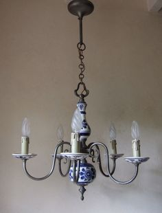 CLASSIC ANTIQUE  FRENCH PEWTER AND DELFT CERAMIC FIVE  BRANCH CHANDELIER  #FrenchAntique