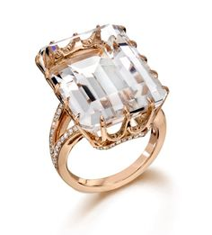 From the Rose Gold Collection, Emerald cut rock crystal ring set in 18KT rose gold. From @Cornell's Jewelers