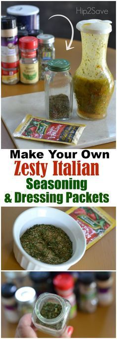 Zesty Italian dry seasoning packets are super versatile. In addition to using them to create homemade salad dressing, these packets can be used to quickly season grilled meat, create marinades, and to add to roasted potatoes & veggies and slow cooker meal Homemade Spices, Homemade Seasonings, Homemade Italian Seasoning, Italian Seasoning Packet, Homemade Dry Mixes, Homemade Shampoo, Pasta Bar, Homemade Italian Dressing, Zesty Italian Dressing Mix Recipe