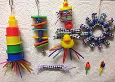 ♥ Pet Bird DIY Ideas ♥  Bird/Parrot Toy Lot 7 toys
