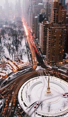 Winter In New York City_Columbus Circle, U.S