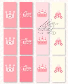 Pinkalicious Princess Party PRINTABLE Birthday Mini Candy Bar Wrappers {also great for tags or mini banners} by Love The Day. $9.00, via Etsy.
