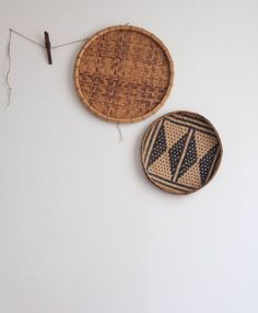 pair of vintage woven baskets